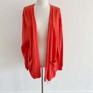 Madewell Open Front Cardigan Sweater Orange 2X